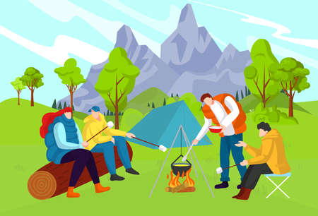 Beautiful nature, interesting adventure, tourist camp, travel in forest near mountains, design cartoon style vector illustration.