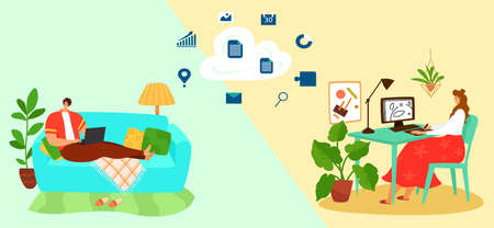 Work at home with cloudy environment, successful home business, woman designer at computer, cartoon style vector illustration.