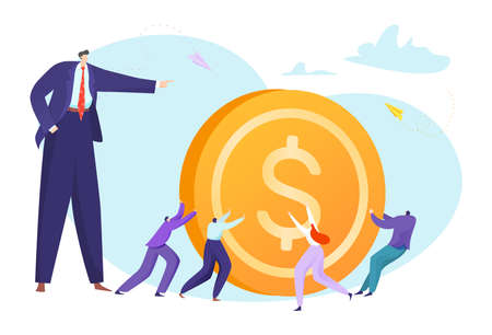 Business people pulling coin, success concept, golden dollar, design cartoon style vector illustration, isolated on white.