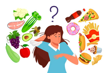 Choosing between healthy and fast food, girl leads healthy lifestyle, design cartoon style vector illustration, isolated on white. 写真素材 - 163956623