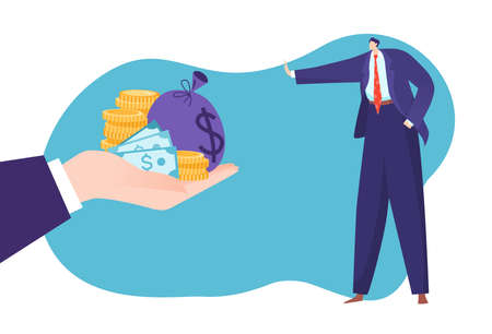 Concept struggle against corruption, illegal payment, lot cash, currency bribe in hand, design cartoon style vector illustration.