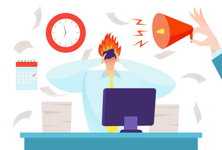Deadline how to relieve stress, intense workflow. hard work, design cartoon style vector illustration, isolated on white.  イラスト・ベクター素材