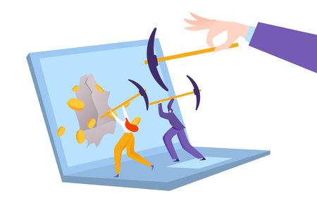 Digital money market, online business, internet sales concept, modern mobile app, design cartoon style vector illustration.  イラスト・ベクター素材