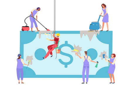 Dirty money concept, foreign currency, financial crime, business cash, banknote laundering, cartoon style vector illustration.