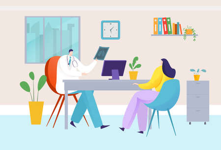 Doctor consultation in hospital office, medical clinic, woman patient examination, design cartoon style vector illustration.  イラスト・ベクター素材