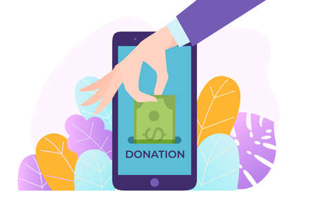 Donation mobile phone, ability to donate online, digital money, payment network, design cartoon style vector illustration.