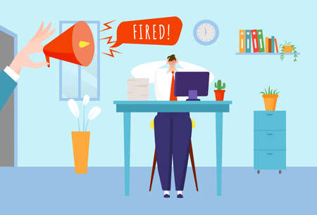 Employee job reduction concept, depressed worker, stressful office work, manager fired, design cartoon style vector illustration.  イラスト・ベクター素材