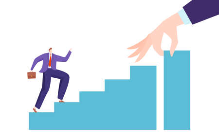 Grow up business, young successful businessman growth concept, design cartoon style vector illustration, isolated on white.  イラスト・ベクター素材