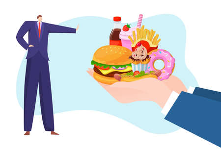 Junk fast food refusal, healthy lifestyle, good habits, rejection unhealthy meal, design cartoon style vector illustration.