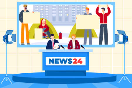 Journalists work in news studio, people on television, communication with announcer, design cartoon style vector illustration.  イラスト・ベクター素材