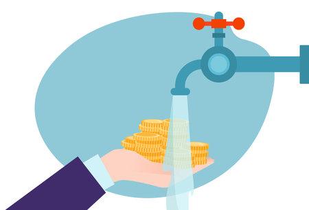 laundering dirty money, concept crime, wealth cash, illegal money circulation, design cartoon style vector illustration.