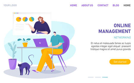 Online workflow managemant networking, business network, laptop work, internet office, design cartoon style vector illustration.