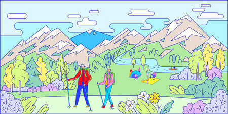People relax in mountains, nordic walking, line art, beautiful nature outdoors, active lifestyle, flat style vector illustration.