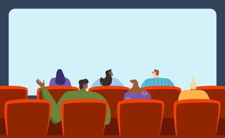 People watching movie, spacious audience, interesting film, entertainment program, design cartoon style vector illustration.