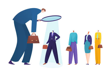 Recruiting concept, hiring employees, employment at enterprise, searching for experienced manager, flat style vector illustration.  イラスト・ベクター素材