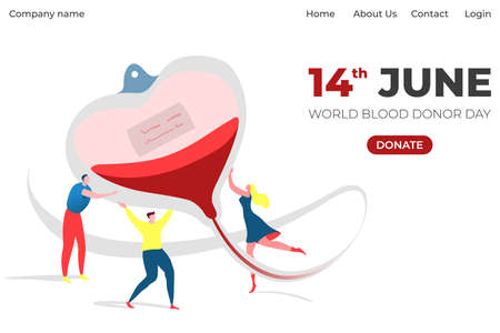 World donor day information landing, banner with inscription on website, cartoon style vector illustration, isolated on white.  イラスト・ベクター素材