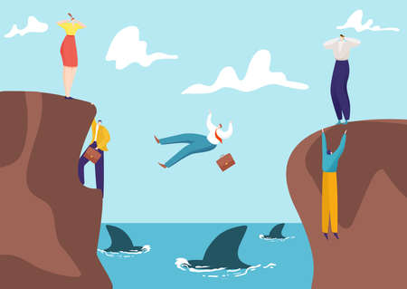 Concept business risk, businessman and businesswoman competition venture, entrepreneur fall abyss with shark flat vector illustration.