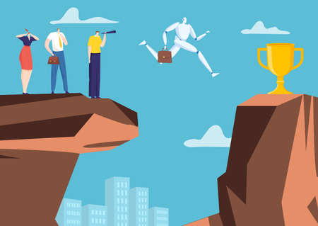 Artificial intelligence businessman character robot jumping chasm rock, office company algorithm win cup flat vector illustration.