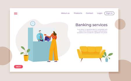 Modern finance banking office landing web banner, monetary institution customer service flat vector illustration, client maintenance.