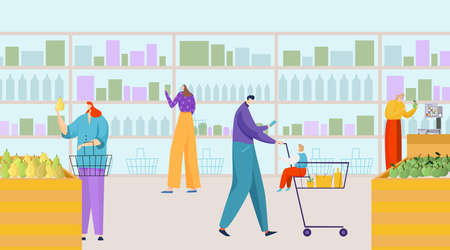 People character buy product in supermarket, foodstuff wooden shelving, grocery store flat vector illustration, fresh ecology meal.