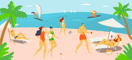 Vacation holiday time, people character together rest hot outdoor beach, tropical country sand shore cartoon vector illustration, natural landscape.
