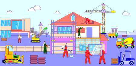 Team character male constructor building house, urban construction site place line flat vector illustration, labour banner.