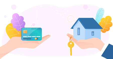 Human customer hold hand credit card, real estate agent carry golden key and sell house flat vector illustration, isolated on white.