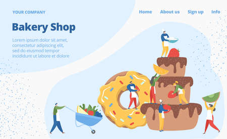Bakery shop web banner concept, tiny character pastry business, bake muffin cake flat vector illustration, computer network site. Illusztráció