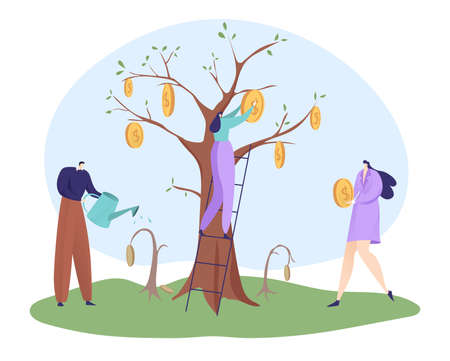 Economic recovery after virus global crisis, businesswoman hold coin, businessman watering tree flat vector illustration, isolated on white.