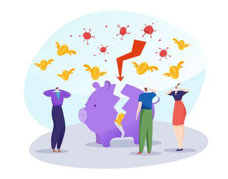 Coronavirus finance crisis, concept broken piggy bank, tiny character business team flat vector illustration, isolated on white. Illusztráció