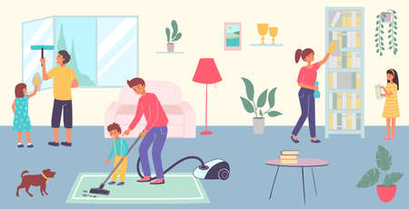 Friendly cheerful family together clean room house, character cleanup living hall flat vector illustration, big happy household.