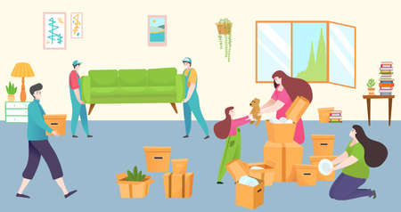 Professional service moving house, character loader carry furniture, young family change residential building flat vector illustration. Illusztráció