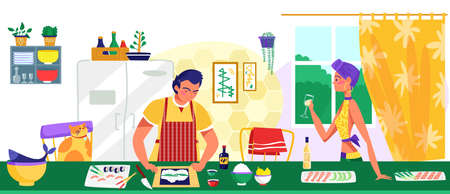 Lovely couple female and male character together cooking food, man prepare meal, woman hold wine glass flat vector illustration. Illusztráció