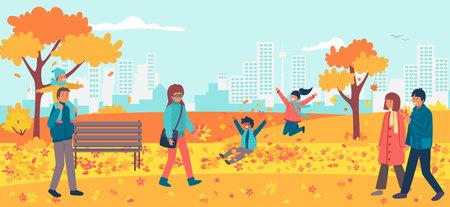 Cheerful walk national autumn park, character male female together stroll urban garden flat vector illustration, romantic place. Illusztráció
