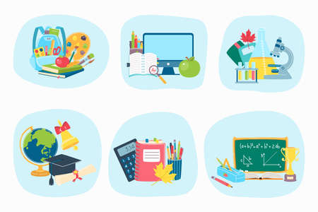School supplies tool, concept study equipment icon, college educational knowledge cartoon vector illustration, isolated on white.