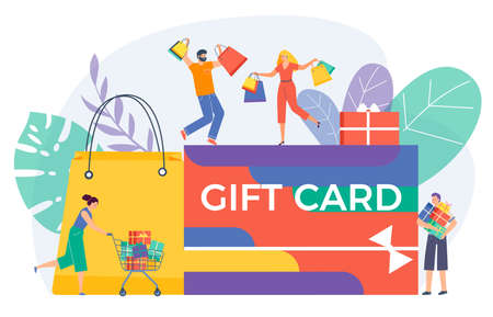 Shopping gift card congratulation, people character together voucher holiday discount flat vector illustration, isolated on white.