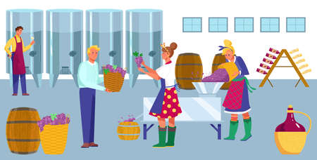 Wine factory production process, work winemaker character, woman and man hold basket grapes flat vector illustration, hangar place.