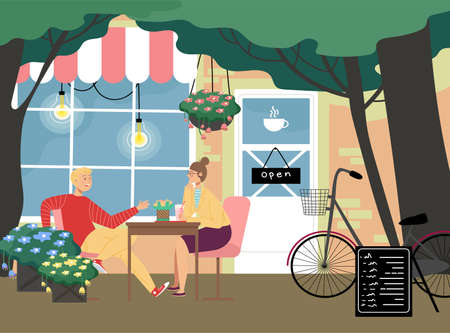 Romantic cafe restaurant place, lovely couple man and woman communicate sitting cafeteria outdoor table flat vector illustration.