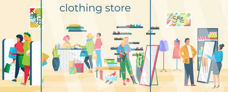 Fashion clothing store banner, group people male female character together shopping shoes and garment flat vector illustration.