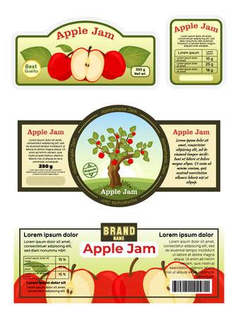 Advertising poster apple jam label, sticker ads fruit jelly foodstuff, pome tablet flat vector illustration, isolated on white.