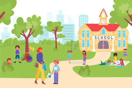Back to school beginning college year, student children together go educational institution banner flat vector illustration.