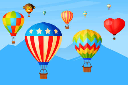 Sky romantic flight, balloons fly over mountain range, banner journey trip aerostat basket postcard flat vector illustration. Illusztráció