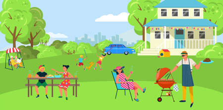 Friendly lovely family barbecue outdoor party, people character together bbq backyard, funny time spend flat vector illustration. Illusztráció