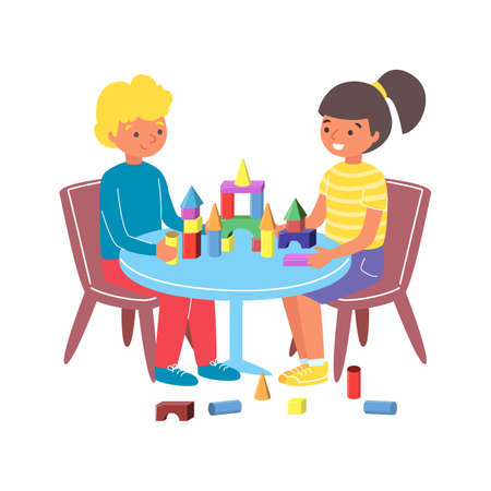 Young children play toy wooden constructor, kid together sitting chair and table flat vector illustration, isolated on white.