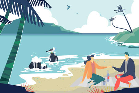 Lovely couple dating seashore, character male and female together sitting ocean beach romantic evening flat vector illustration. Illusztráció