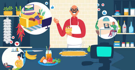 European modern culinary internet blogger share recipe with viewer, stream online influencer head chef male flat vector illustration. Illusztráció