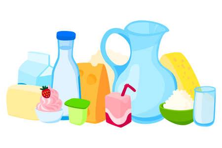 Set dairy product slice cheese, plate yogurt, jug milk and dessert ice cream foodstuff flat vector illustration, isolated on white. Illusztráció