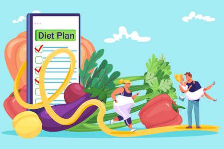 Organic healthy vegetable diet plan, tiny fat woman running sport exercise, man hold slim girl flat vector illustration, isolated on blue. Illusztráció