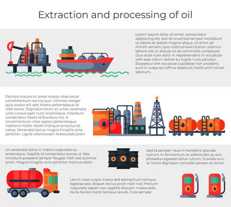 Website banner extraction and oil processing, petroleum information font text, internet info brochure flat vector illustration.