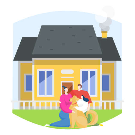 Young family near own private house, character mom dad daughter and dog sitting green lawn flat vector illustration, isolated on white.